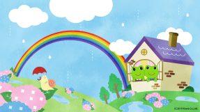 大きな虹が出たケロ